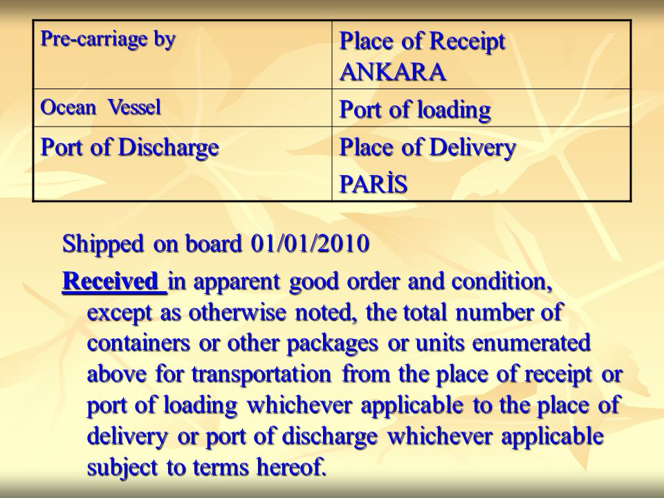 Place of Receipt ANKARA Port of loading Port of Discharge