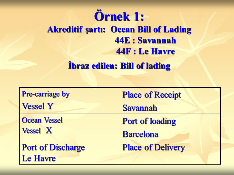Örnek 1: Akreditif şartı: Ocean Bill of Lading 44E : Savannah 44F : Le Havre İbraz edilen: Bill of lading