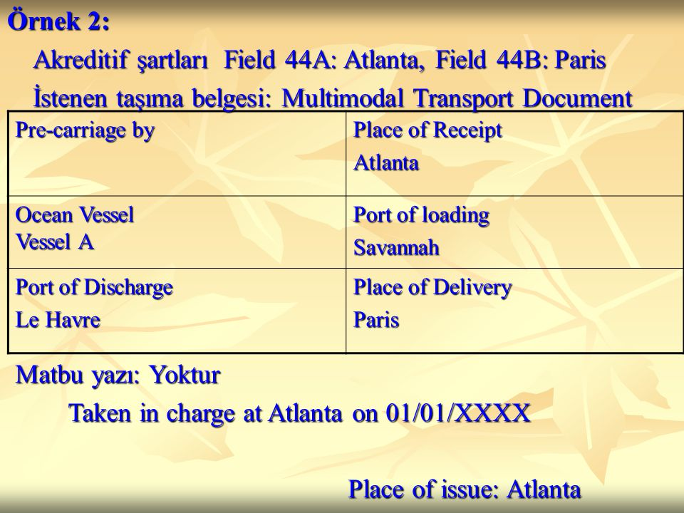 Akreditif şartları Field 44A: Atlanta, Field 44B: Paris