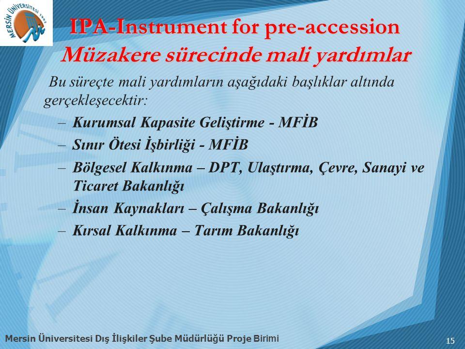 IPA-Instrument for pre-accession Müzakere sürecinde mali yardımlar