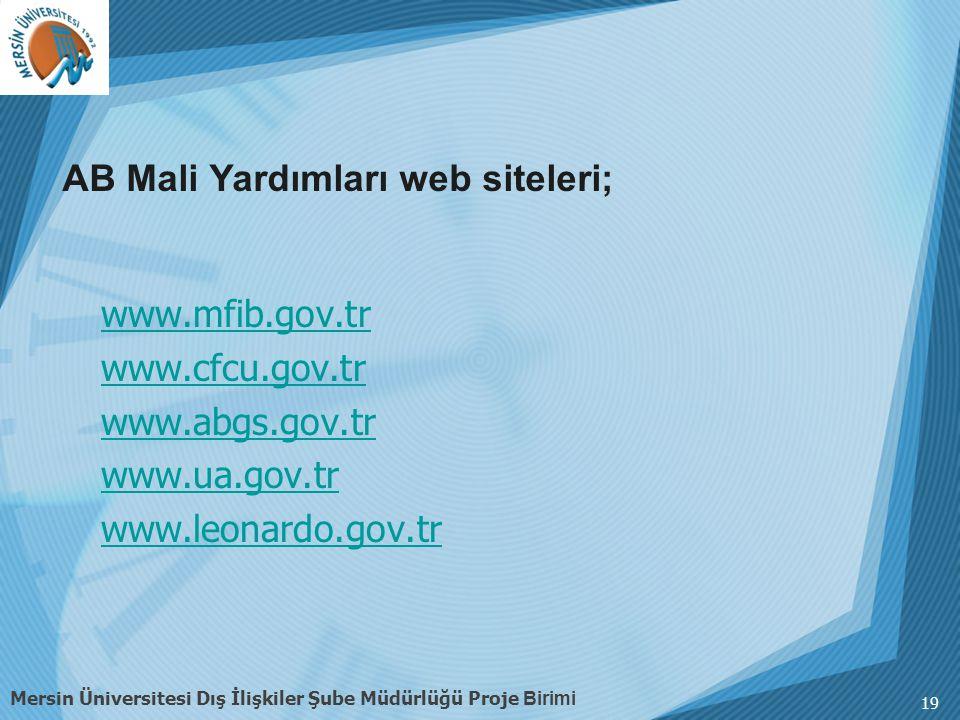 AB Mali Yardımları web siteleri;