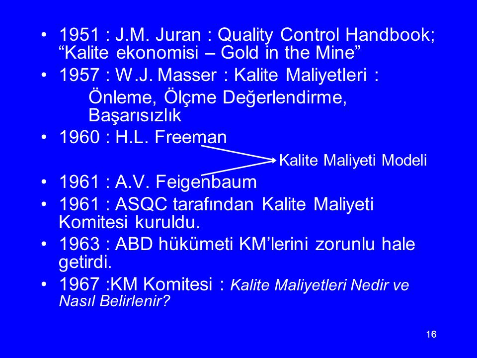 1951 : J.M. Juran : Quality Control Handbook; Kalite ekonomisi – Gold in the Mine