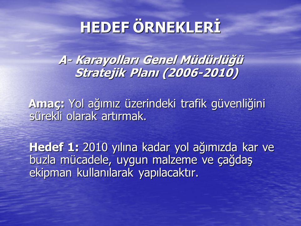 A- Karayolları Genel Müdürlüğü Stratejik Planı (2006-2010)