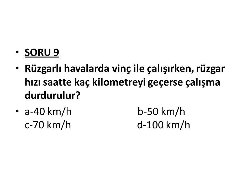 SORU 9 Rüzgarlı havalarda vinç ile çalışırken, rüzgar hızı saatte kaç kilometreyi geçerse çalışma durdurulur