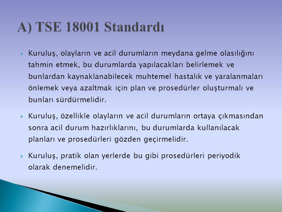 A) TSE 18001 Standardı
