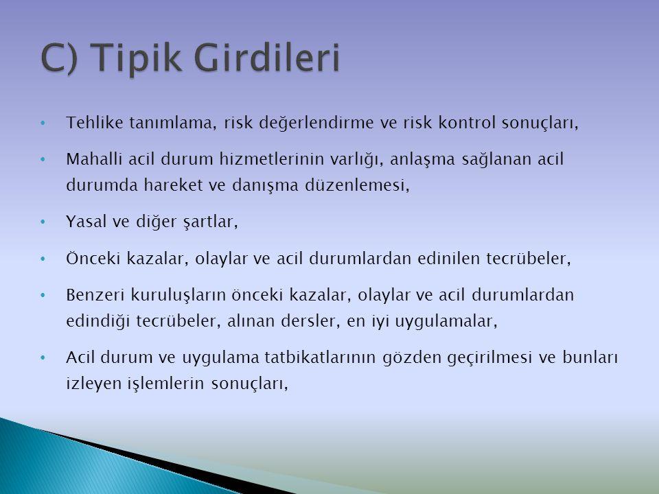 C) Tipik Girdileri Tehlike tanımlama, risk değerlendirme ve risk kontrol sonuçları,