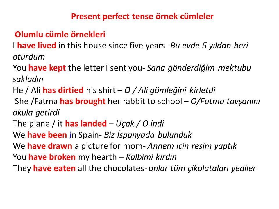 Present perfect tense örnek cümleler