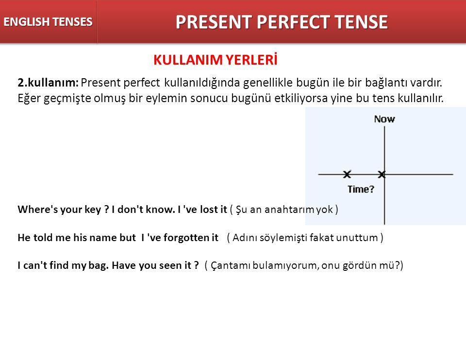 PRESENT PERFECT TENSE KULLANIM YERLERİ ENGLISH TENSES