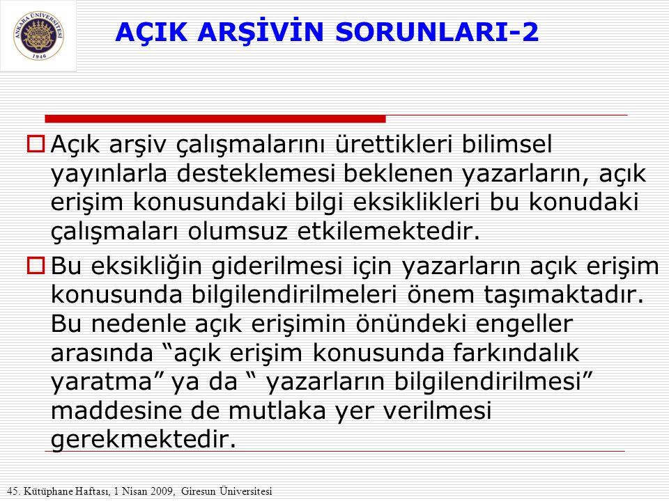 AÇIK ARŞİVİN SORUNLARI-2