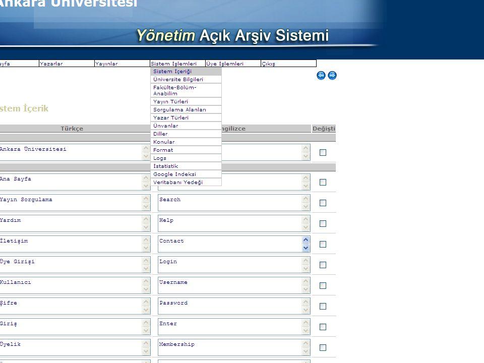 Ankara Üniversitesi Açık Erişim Platformu