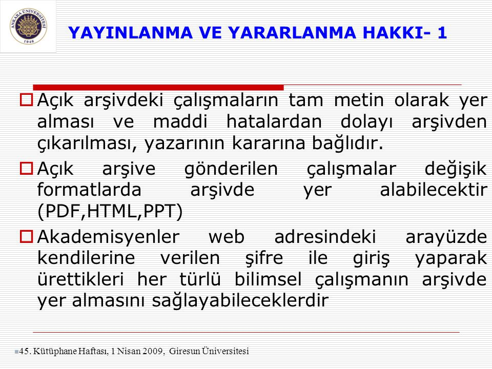 YAYINLANMA VE YARARLANMA HAKKI- 1