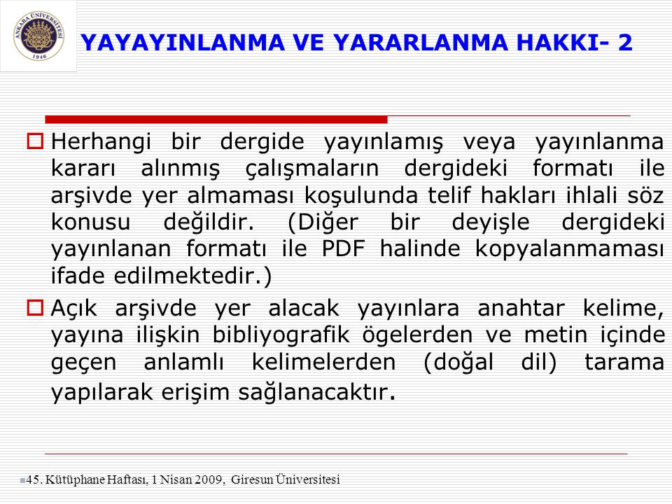 YAYAYINLANMA VE YARARLANMA HAKKI- 2