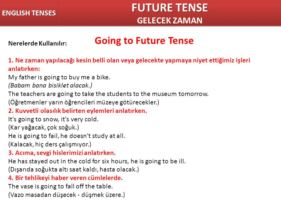 FUTURE TENSE Going to Future Tense GELECEK ZAMAN ENGLISH TENSES