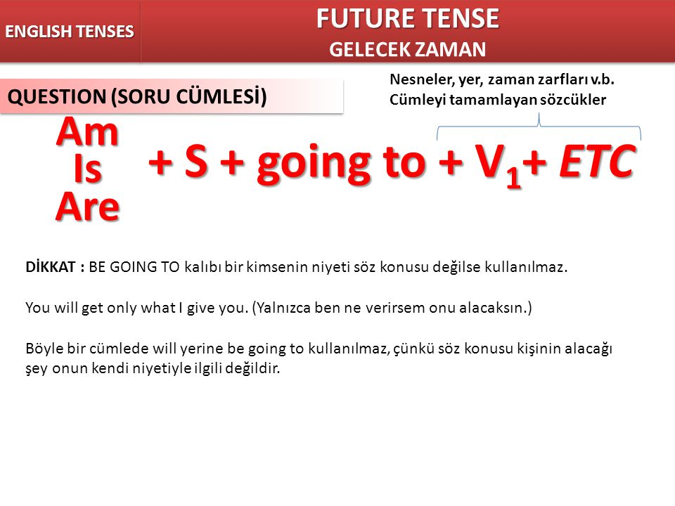 + S + going to + V1+ ETC Am Is Are FUTURE TENSE GELECEK ZAMAN