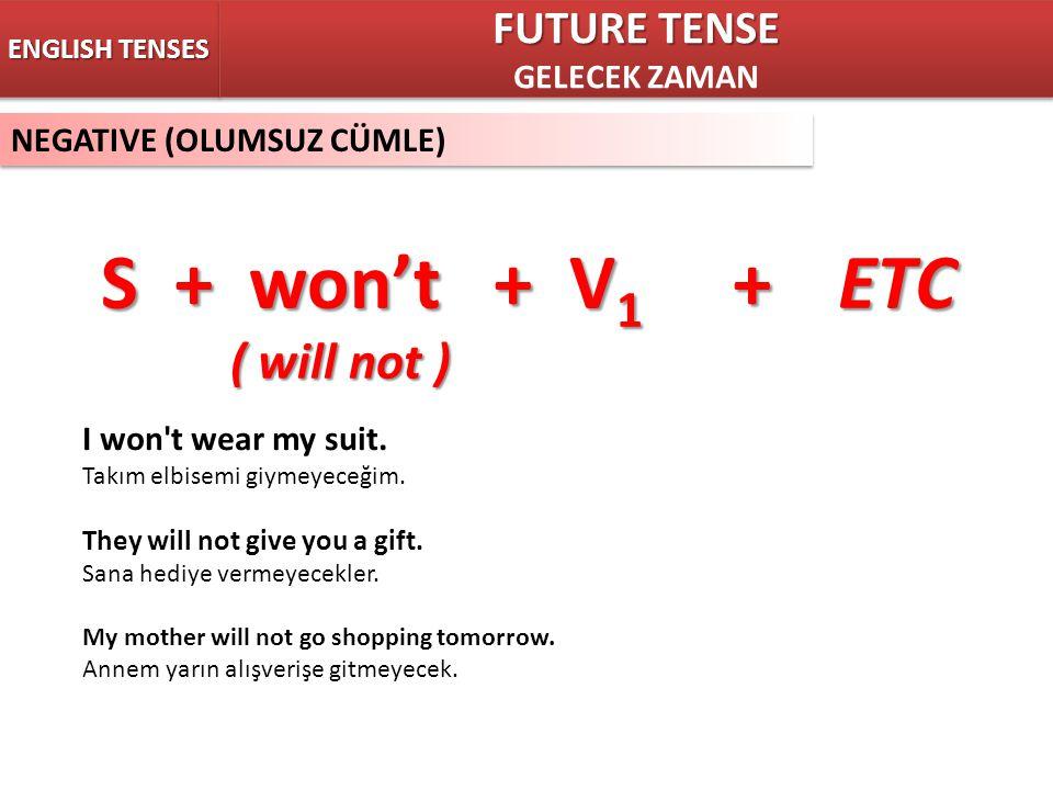 S + won't + V1 + ETC ( will not ) FUTURE TENSE GELECEK ZAMAN