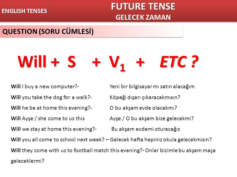 Will + S + V1 + ETC FUTURE TENSE GELECEK ZAMAN