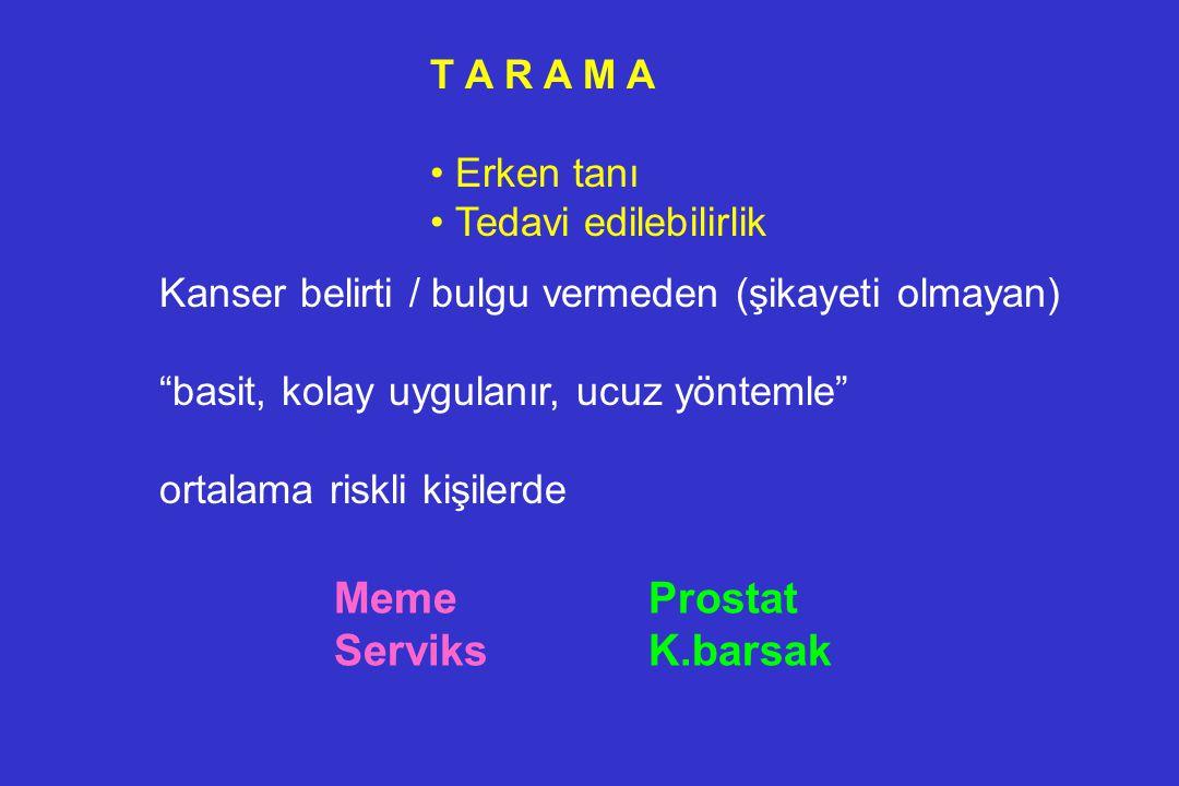 Meme Prostat Serviks K.barsak T A R A M A Erken tanı
