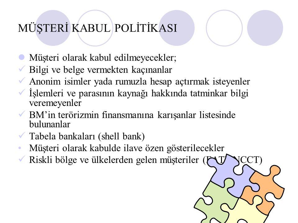 MÜŞTERİ KABUL POLİTİKASI