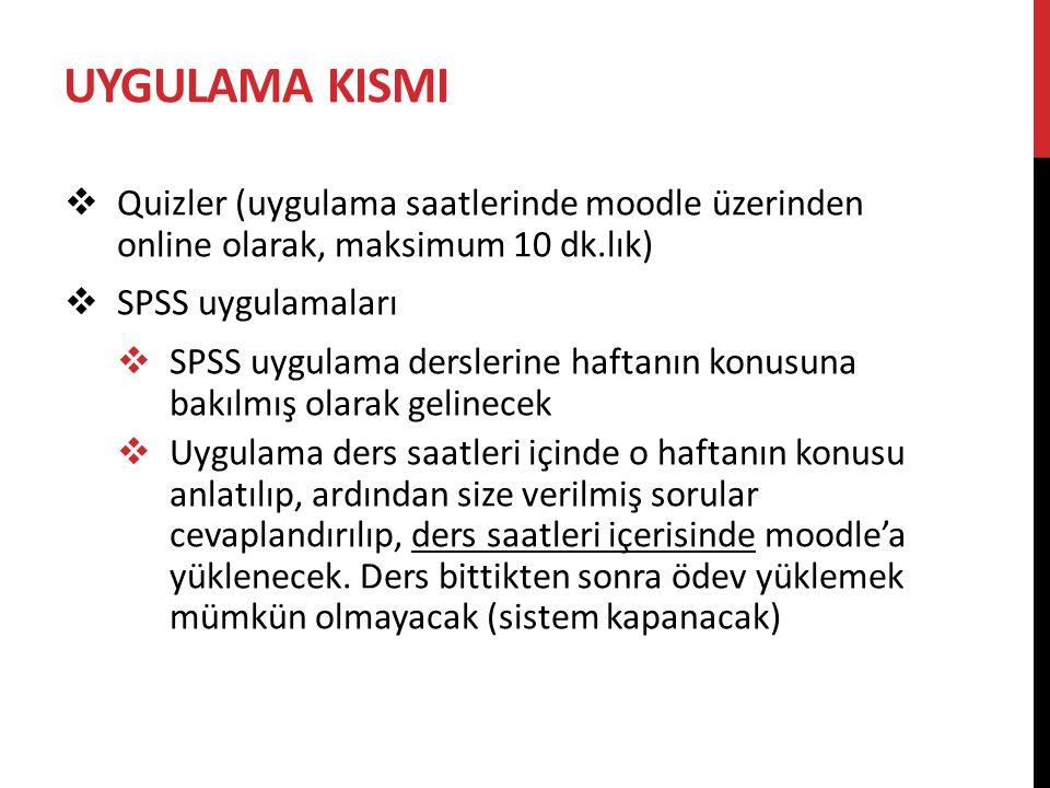 UYGULAMA KISMI Quizler (uygulama saatlerinde moodle üzerinden online olarak, maksimum 10 dk.lık) SPSS uygulamaları.