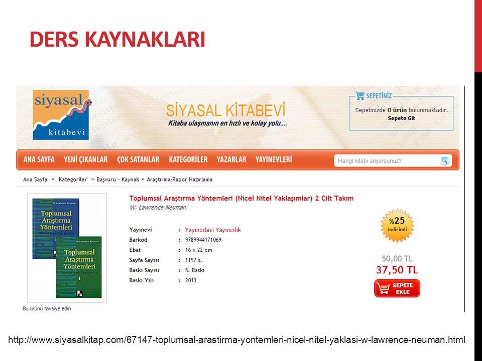 Ders kaynaklarI http://www.siyasalkitap.com/67147-toplumsal-arastirma-yontemleri-nicel-nitel-yaklasi-w-lawrence-neuman.html.