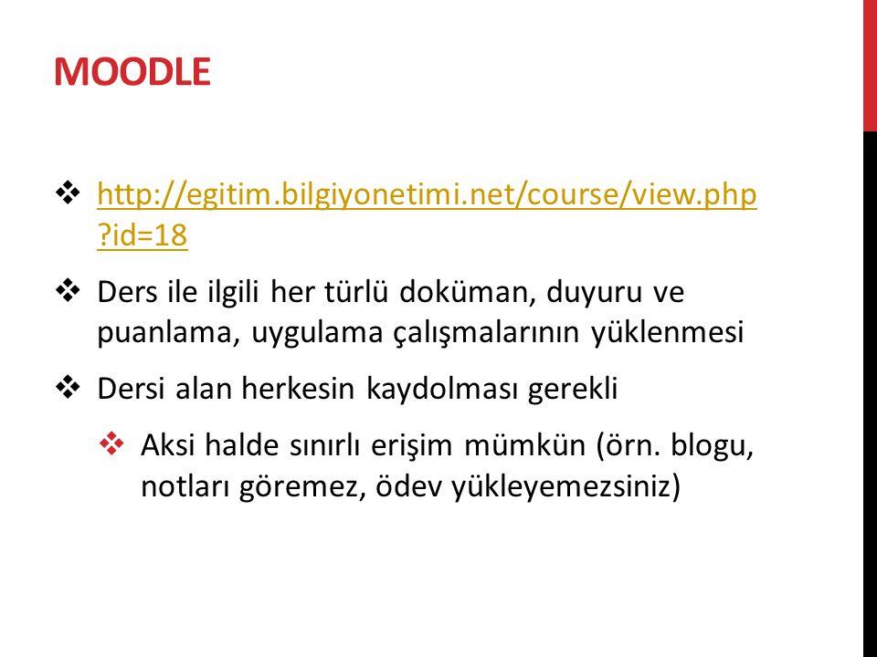 MOODLE http://egitim.bilgiyonetimi.net/course/view.php id=18