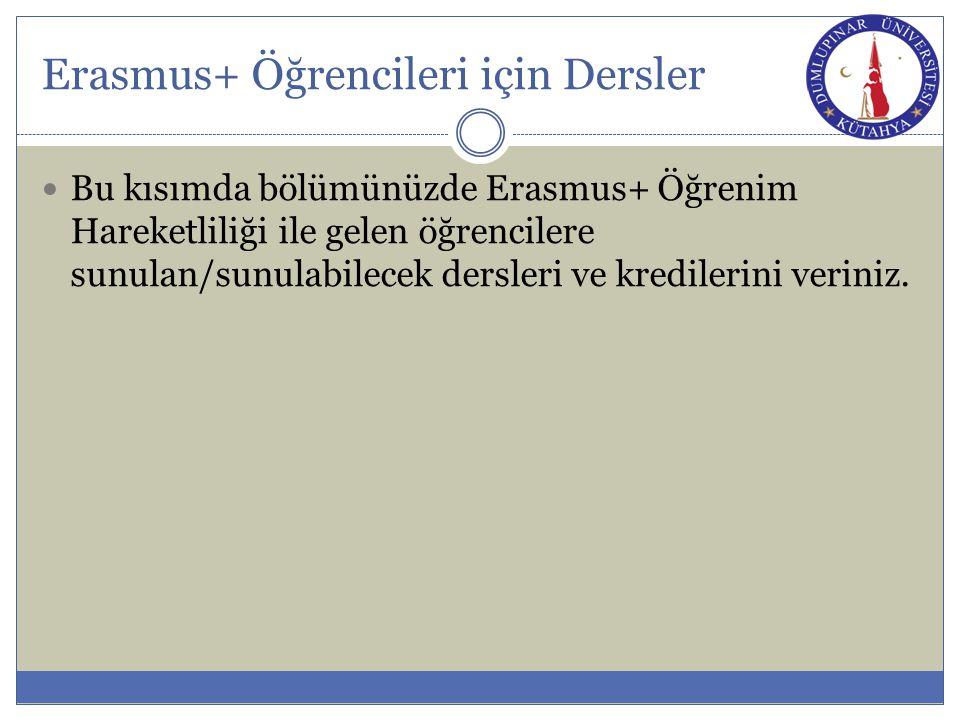 Erasmus+ Öğrencileri için Dersler