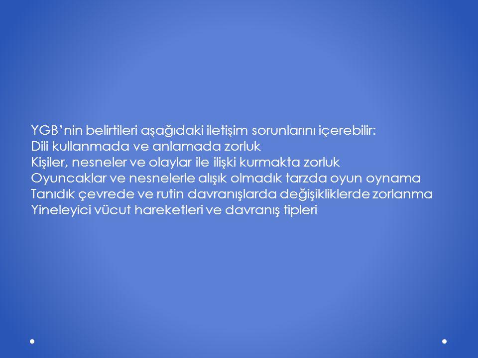 YGB'nin belirtileri aşağıdaki iletişim sorunlarını içerebilir: