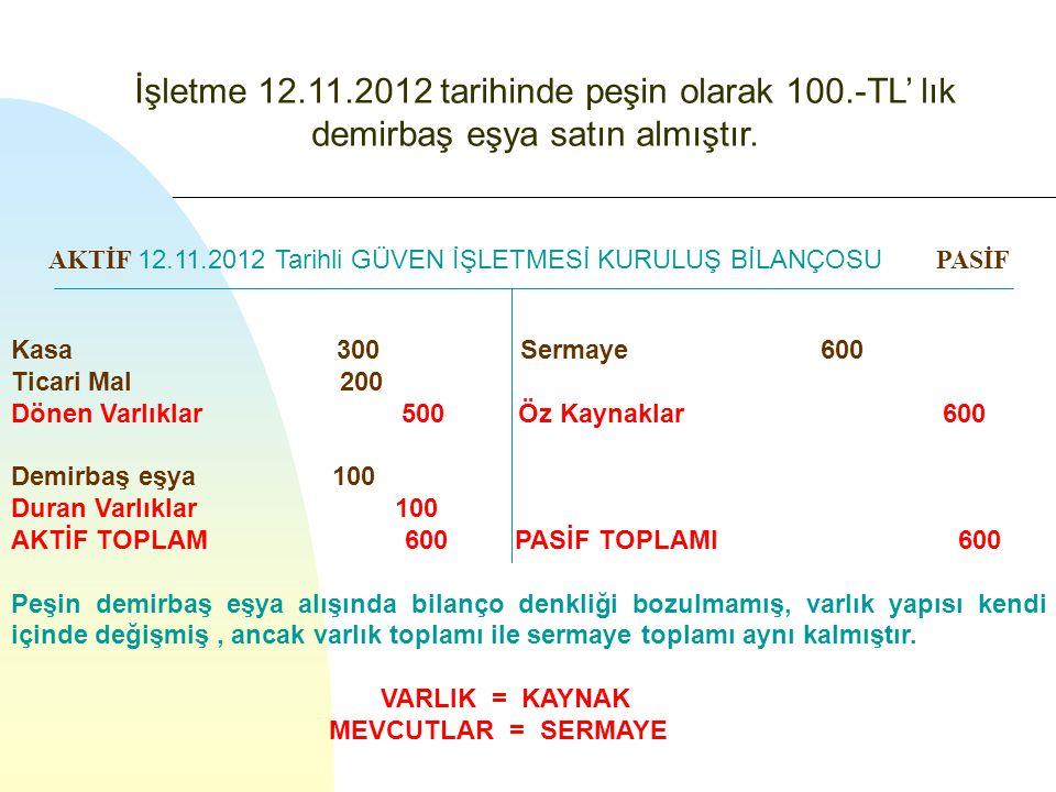 İşletme 12. 11. 2012 tarihinde peşin olarak 100