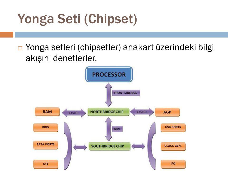 Yonga Seti (Chipset) Yonga setleri (chipsetler) anakart üzerindeki bilgi akışını denetlerler.