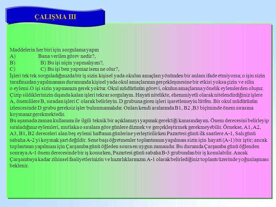 ÇALIŞMA III Maddelerin her biri için sorgulama yapın