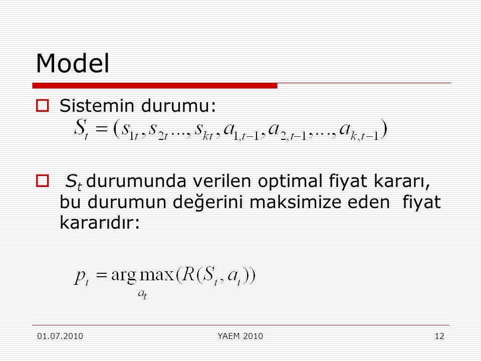 Model Sistemin durumu: