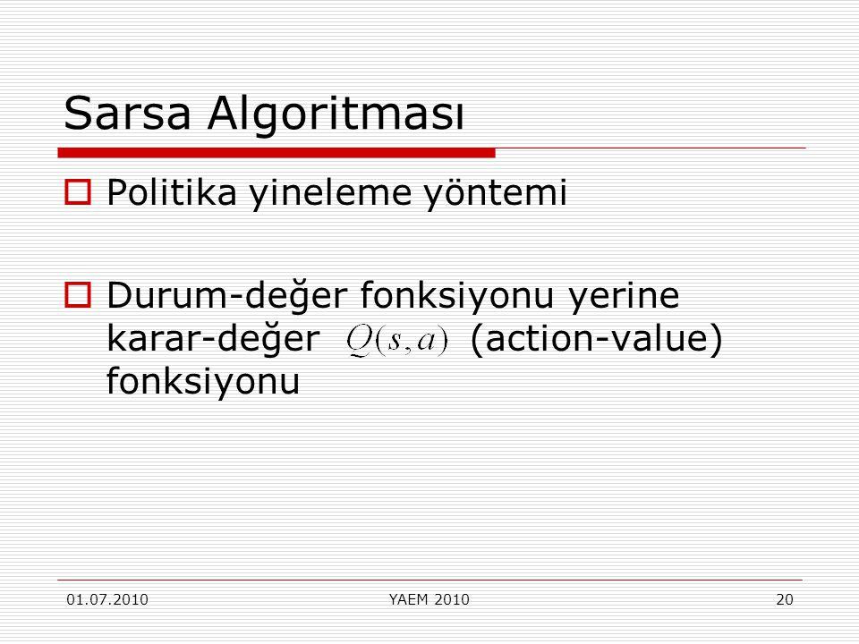 Sarsa Algoritması Politika yineleme yöntemi