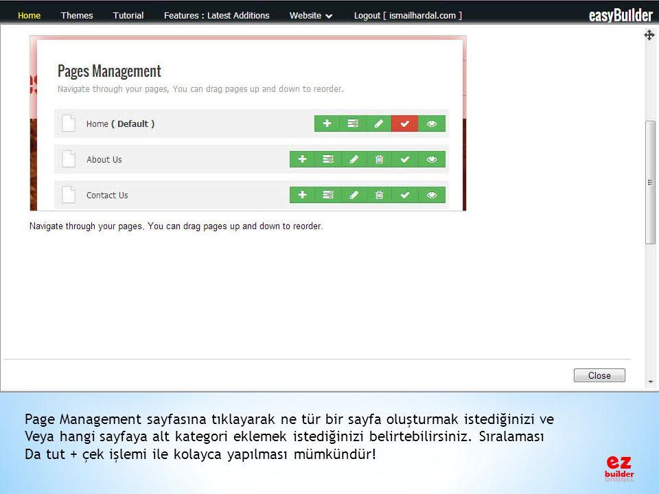 Page Management sayfasına tıklayarak ne tür bir sayfa oluşturmak istediğinizi ve
