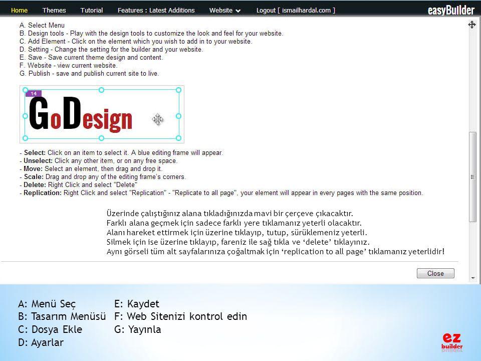 B: Tasarım Menüsü F: Web Sitenizi kontrol edin