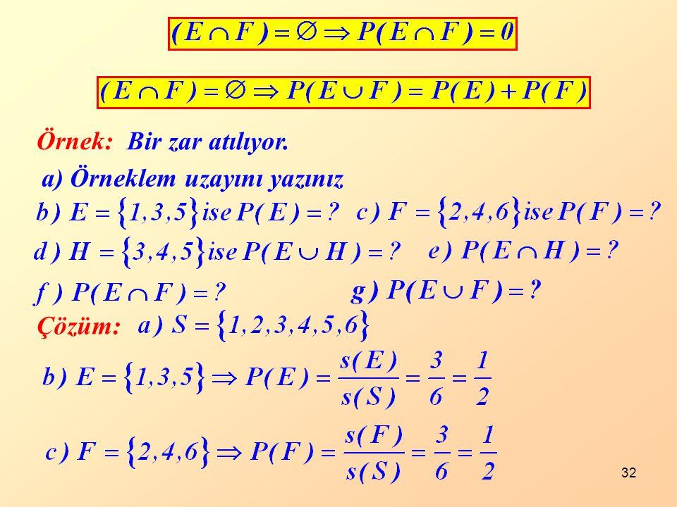 Örnek: Bir zar atılıyor. a) Örneklem uzayını yazınız Çözüm: