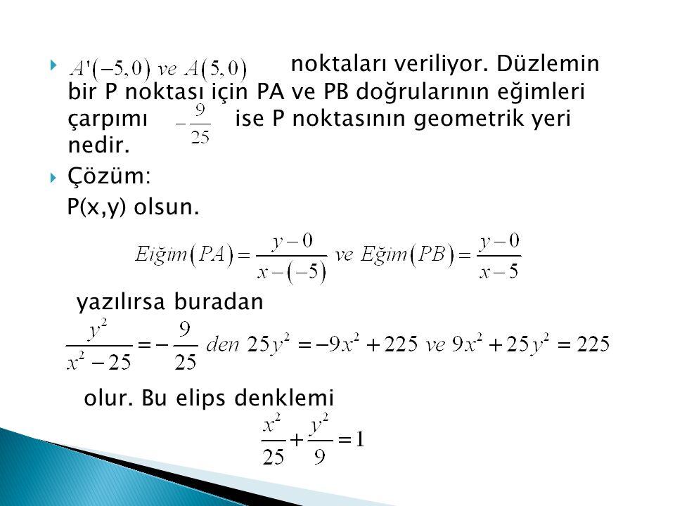 noktaları veriliyor. Düzlemin bir P noktası için PA ve PB doğrularının eğimleri çarpımı ise P noktasının geometrik yeri nedir.