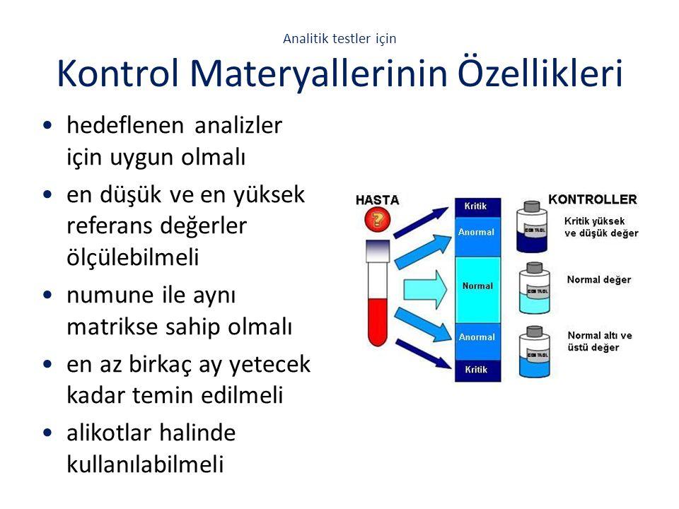 Analitik testler için Kontrol Materyallerinin Özellikleri