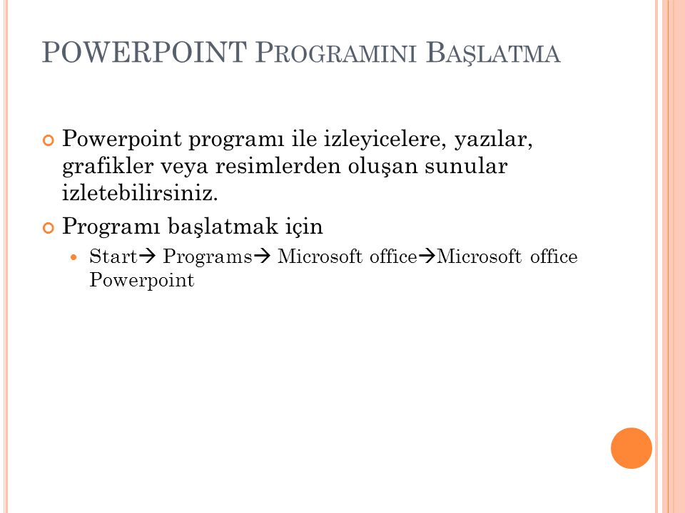 POWERPOINT Programini Başlatma