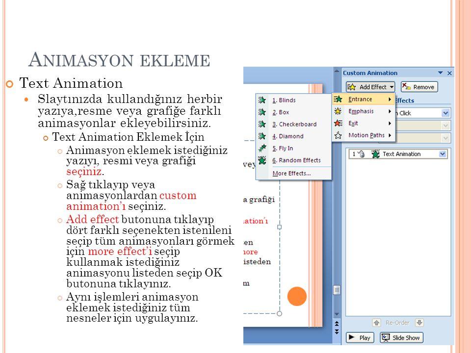 Animasyon ekleme Text Animation