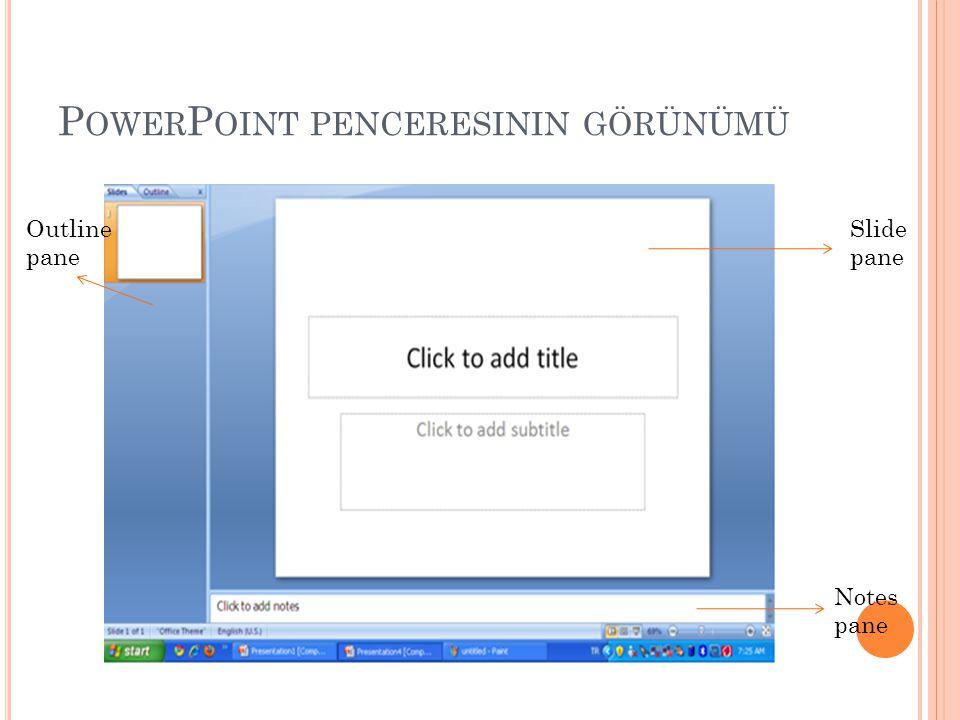 PowerPoint penceresinin görünümü
