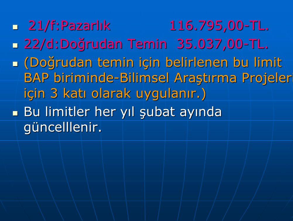 21/f:Pazarlık 116.795,00-TL. 22/d:Doğrudan Temin 35.037,00-TL.