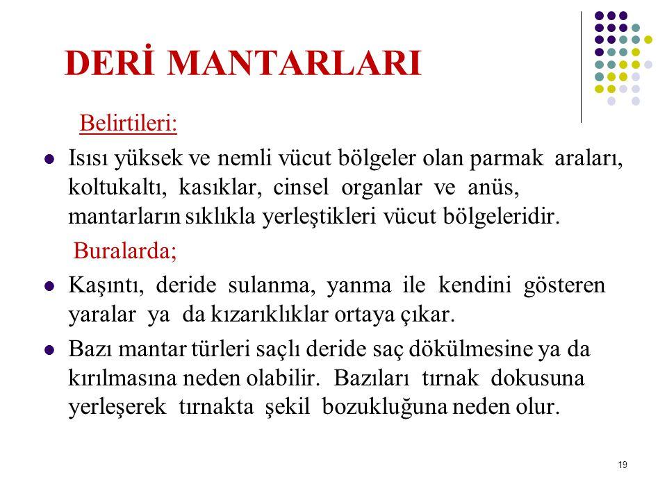 DERİ MANTARLARI Belirtileri: