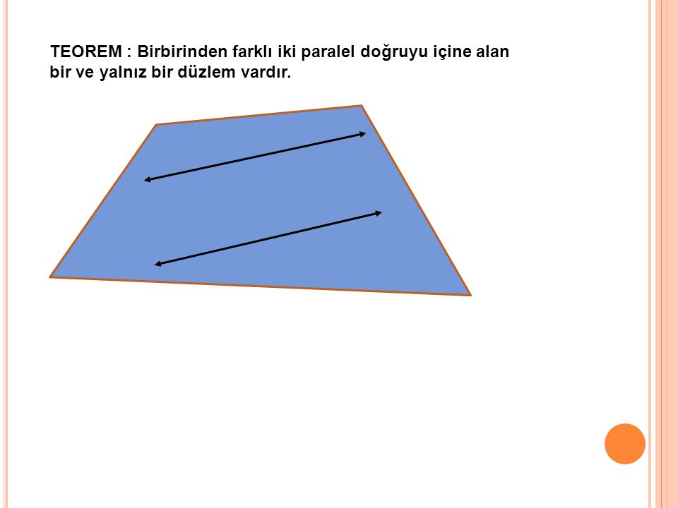TEOREM : Birbirinden farklı iki paralel doğruyu içine alan
