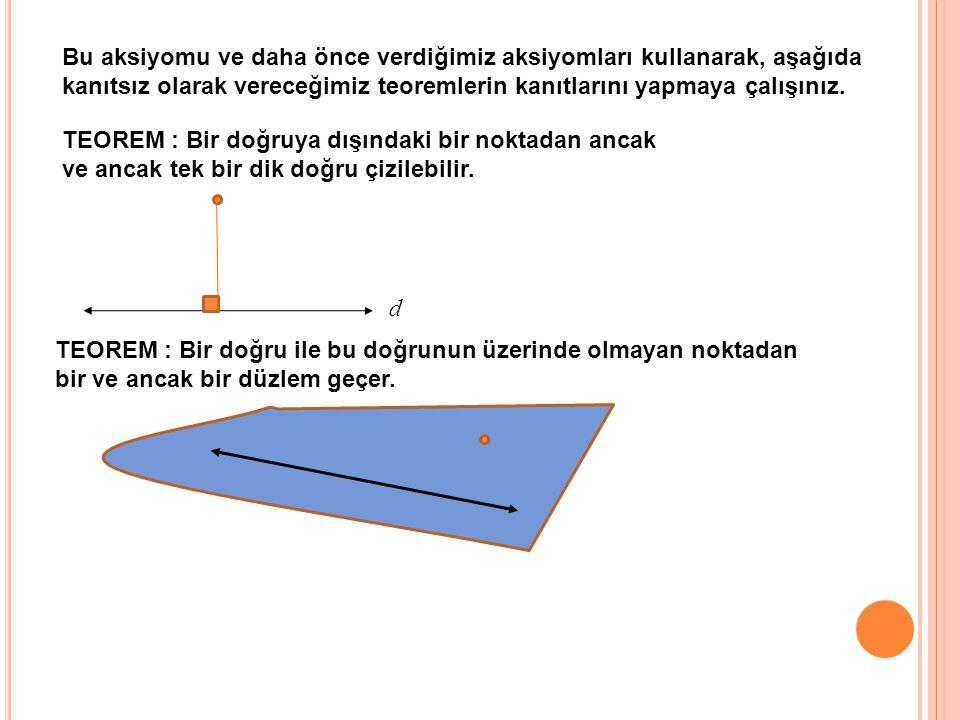 Bu aksiyomu ve daha önce verdiğimiz aksiyomları kullanarak, aşağıda kanıtsız olarak vereceğimiz teoremlerin kanıtlarını yapmaya çalışınız.