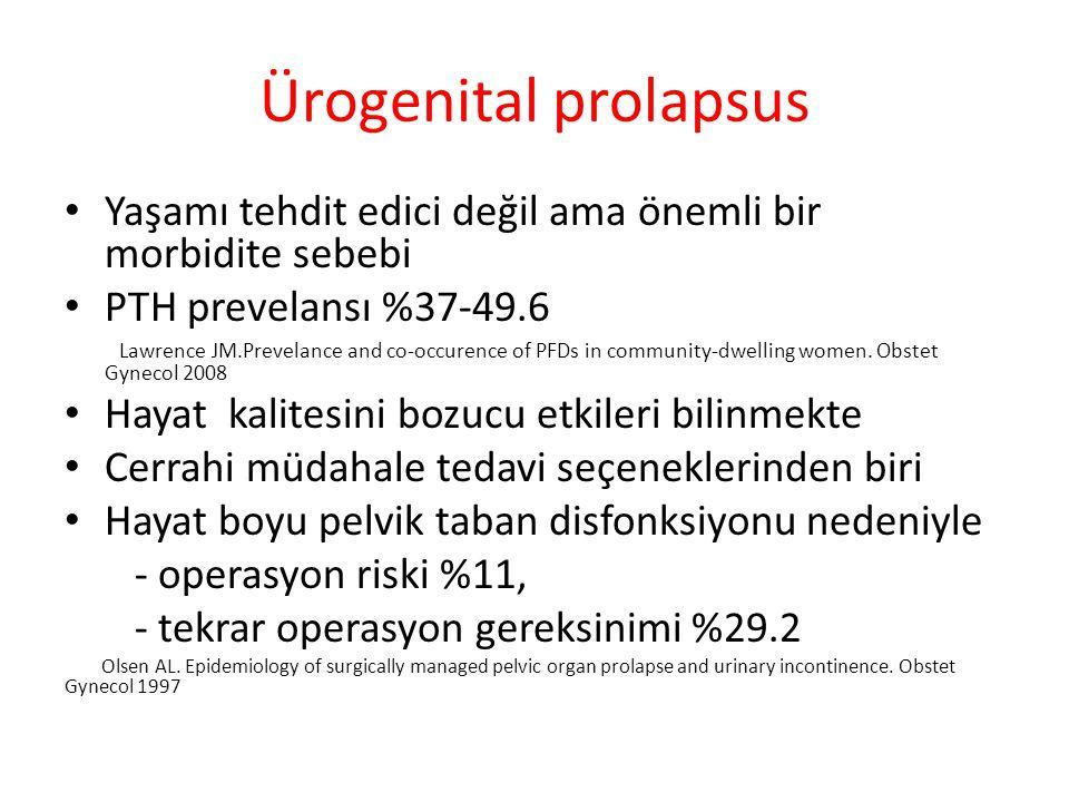 Ürogenital prolapsus Yaşamı tehdit edici değil ama önemli bir morbidite sebebi. PTH prevelansı %37-49.6.