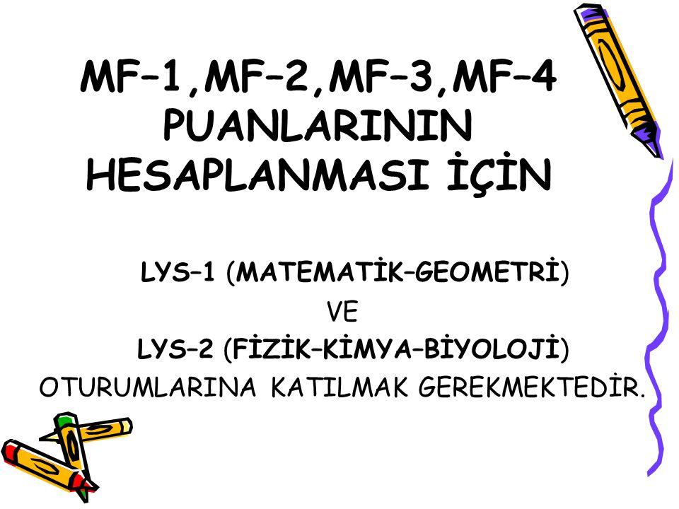 MF–1,MF–2,MF–3,MF–4 PUANLARININ HESAPLANMASI İÇİN
