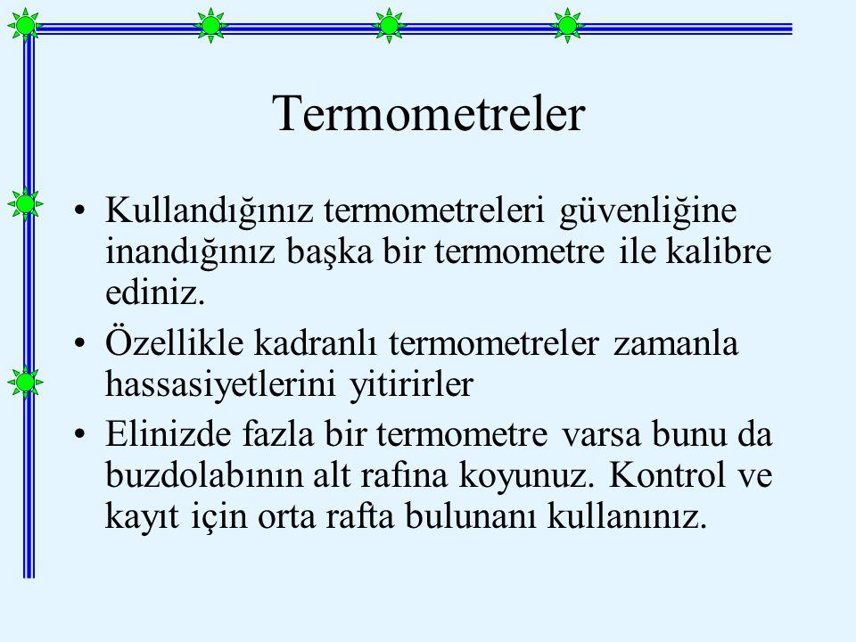 Termometreler Kullandığınız termometreleri güvenliğine inandığınız başka bir termometre ile kalibre ediniz.