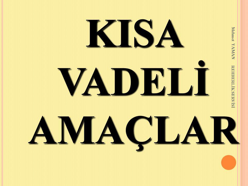 KISA VADELİ AMAÇLAR Mehmet YAMAN REHBERLİK SERVİSİ