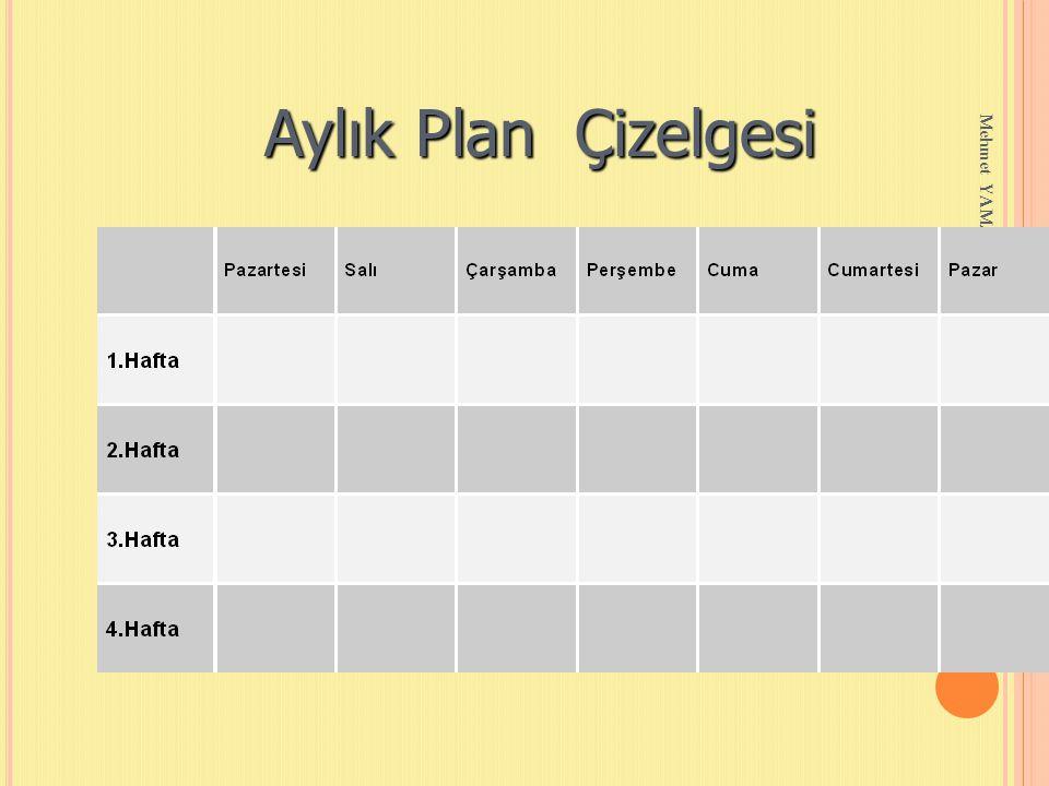 Aylık Plan Çizelgesi Mehmet YAMAN REHBERLİK SERVİSİ