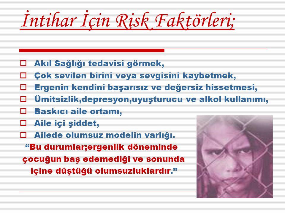 İntihar İçin Risk Faktörleri;